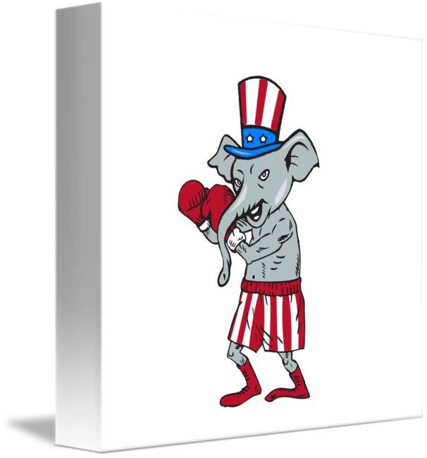 banner royalty free library Republican mascot elephant cartoon. Boxer clipart boxing stance