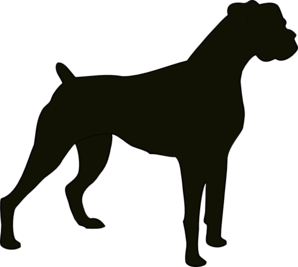 clip black and white library Boxer Dog Silhouette Clipart