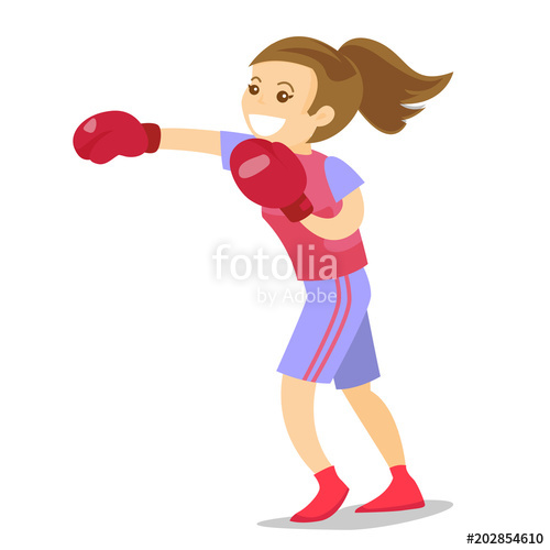 vector free download Boxer clipart woman boxing. Smiling caucasian white in.