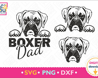 vector black and white Boxer svg. Etsy