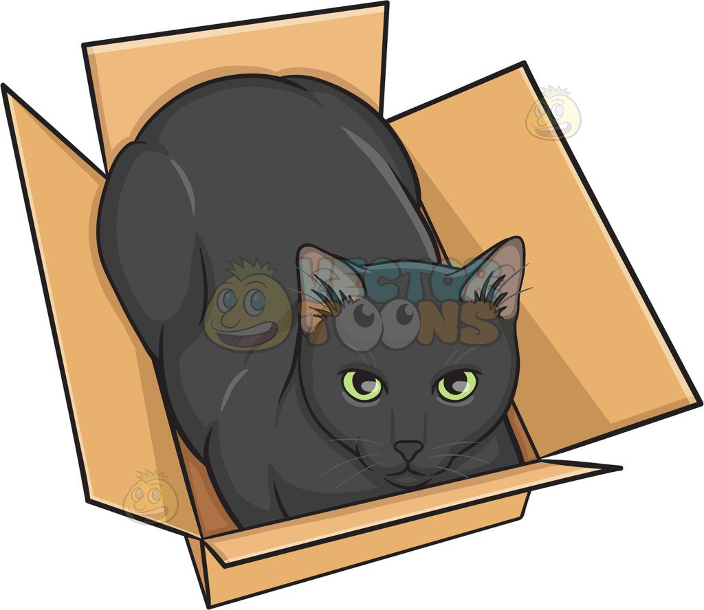 vector royalty free In the box portal. Boxes clipart cat