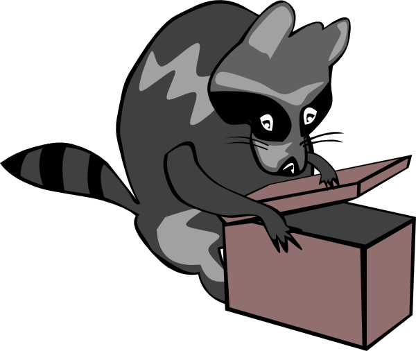 graphic black and white stock Raccoon opening box clip. Boxes clipart cat