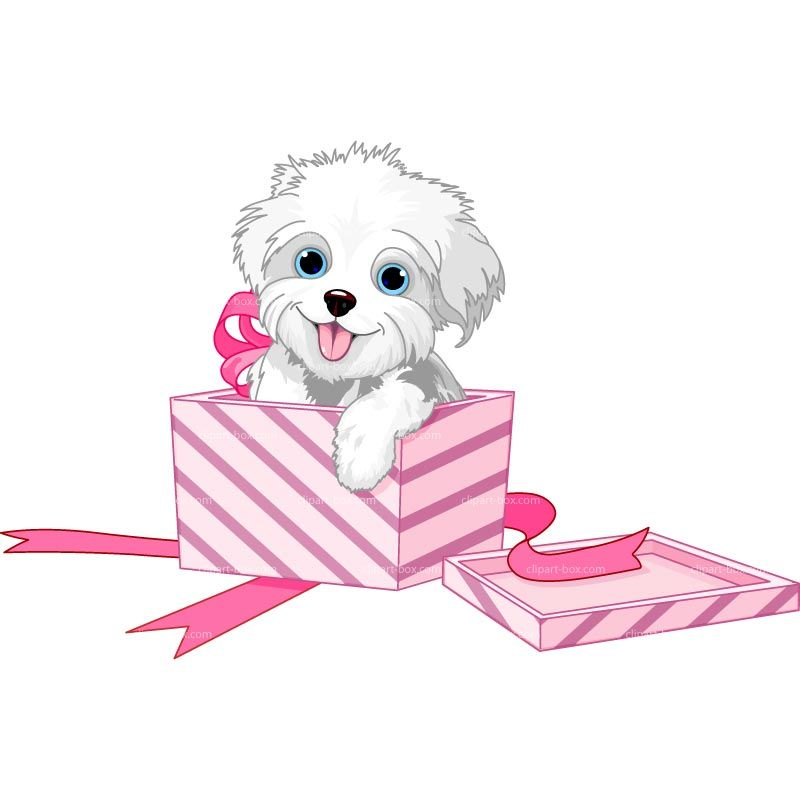 png transparent Boxes clipart dog. Puppy in a gift