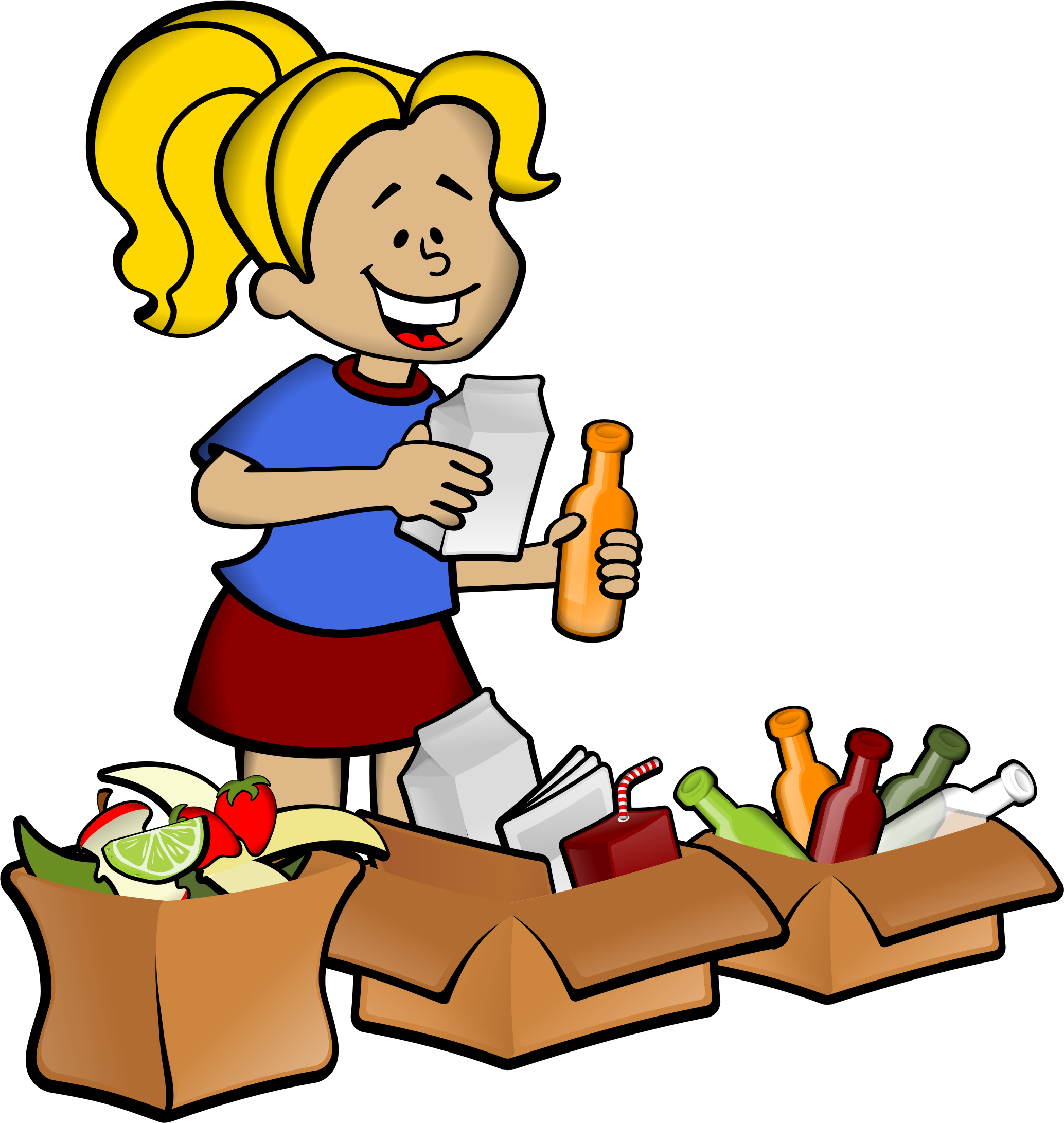 image free Boxes clipart groceries. Woman and big image.