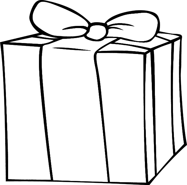 clip art royalty free download Gift box black and. Boxes clipart outline