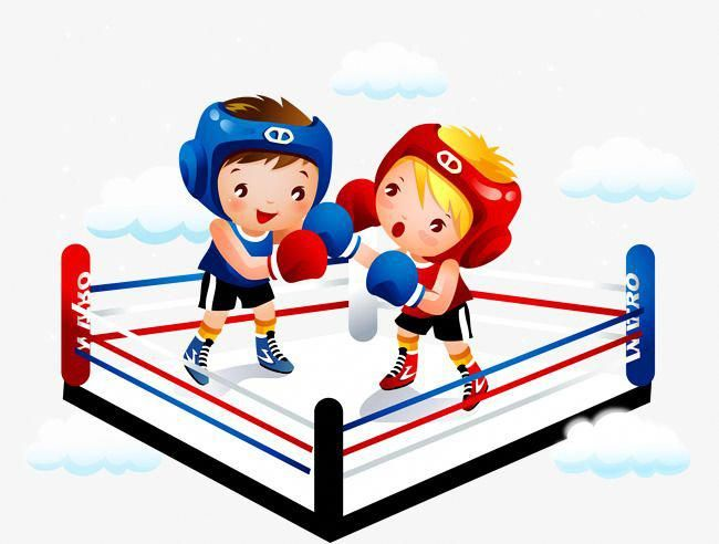 black and white library Vector child the ring. Boxing clipart.