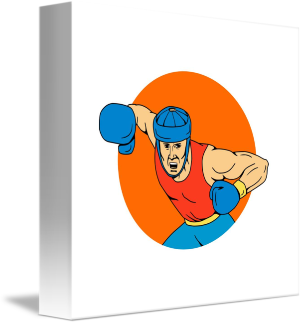 picture free stock Amateur Boxer Overhead Punch Circle Drawing by Aloysius Patrimonio