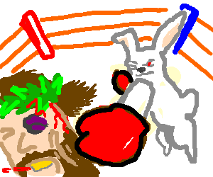 clipart black and white download Jesus and Easter Bunny in boxing match