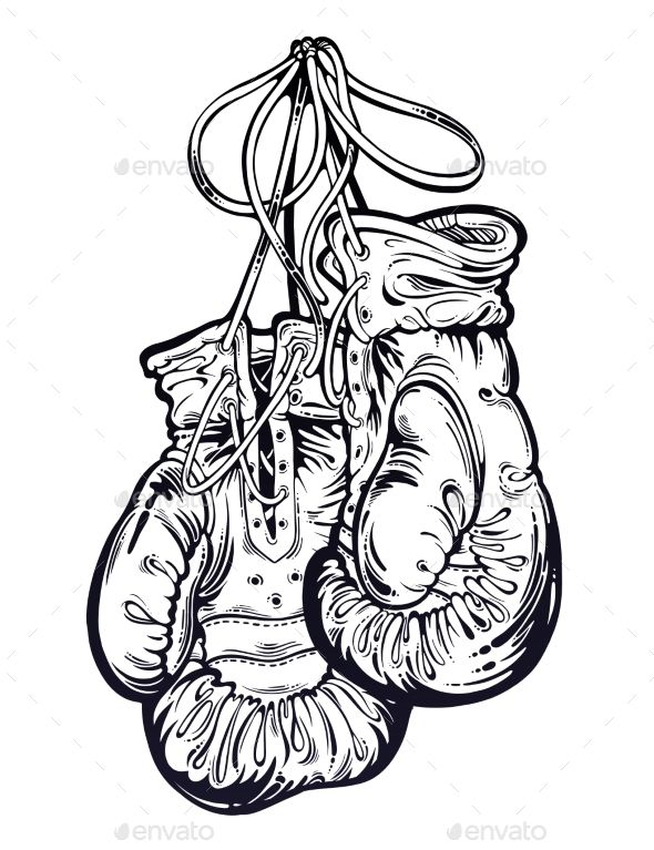 clipart transparent download Gloves hanging from the. Boxing drawing vintage