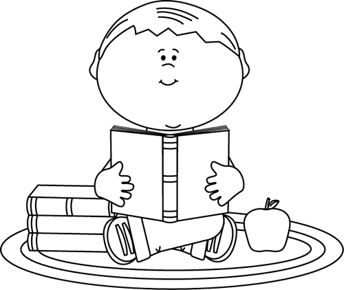 svg royalty free stock Black and White Boy Reading a School Book