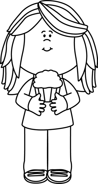 png royalty free library Ice cream black and white clipart. Girl holding a cupcake