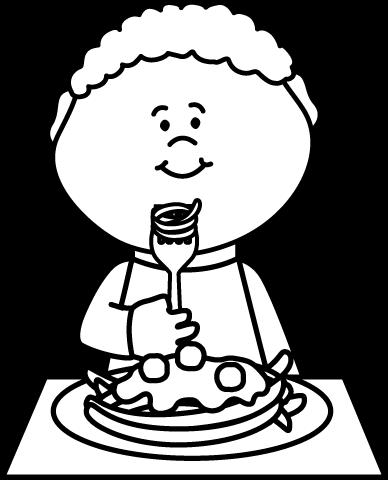 jpg freeuse stock Boy black and white clipart. Eating