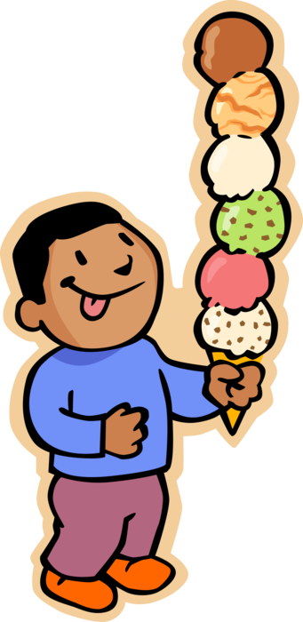 banner library stock Boy clipart ice cream. With six scoop cone