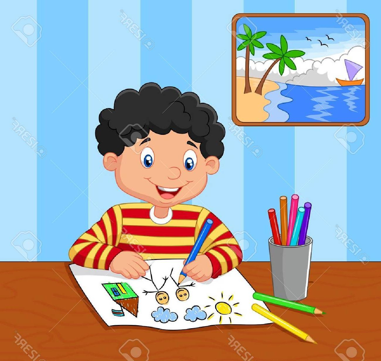 clipart free download Picture of a at. Boy drawing clipart