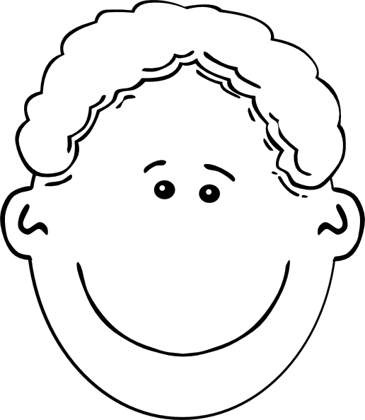 jpg download Smiling outline clip art. Boy face clipart black and white