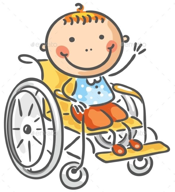 svg library A friendly boy flat. Kid in wheelchair clipart