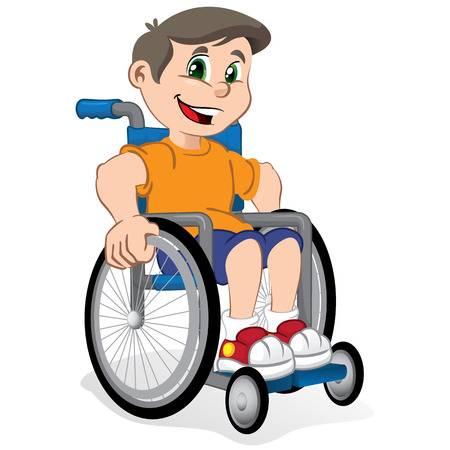 vector stock Boy in portal . Wheelchair kids clipart