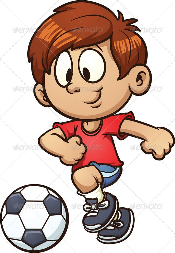 clip art freeuse download Kids playing soccer clipart. Kid fitness vector cartoon
