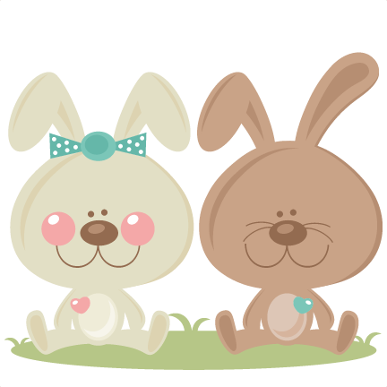 clip freeuse Boy and Girl Easter Bunny scrapbook cuts SVG cutting files doodle