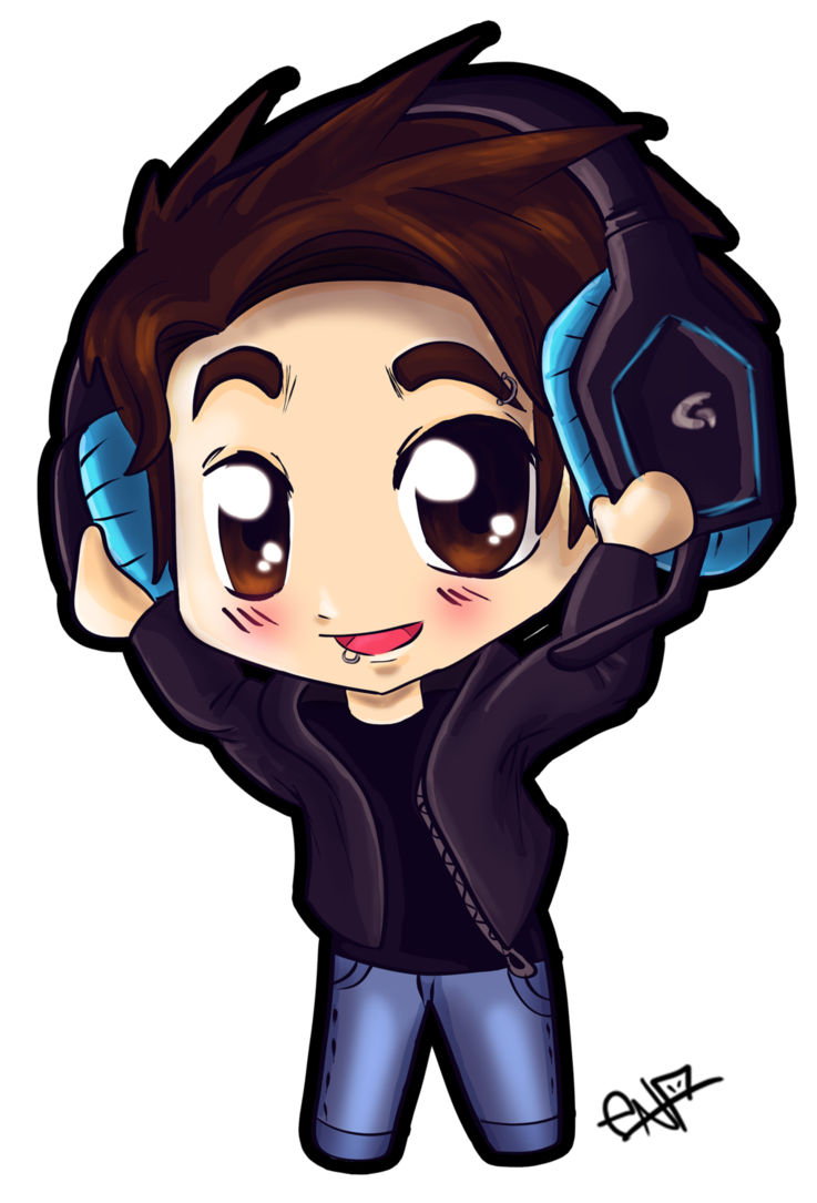 vector royalty free Chibi boy with headphones by Ena
