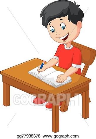 graphic transparent stock Vector art cartoon little. Boy writing clipart