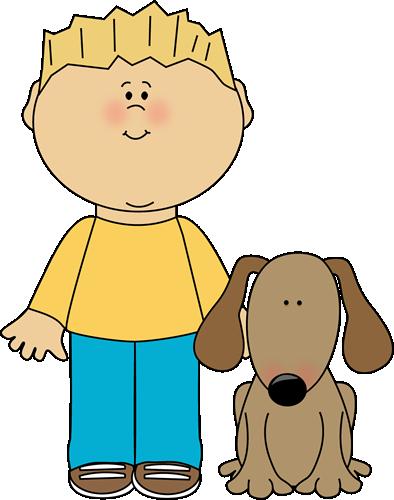 clipart transparent stock Boy with Pet Dog