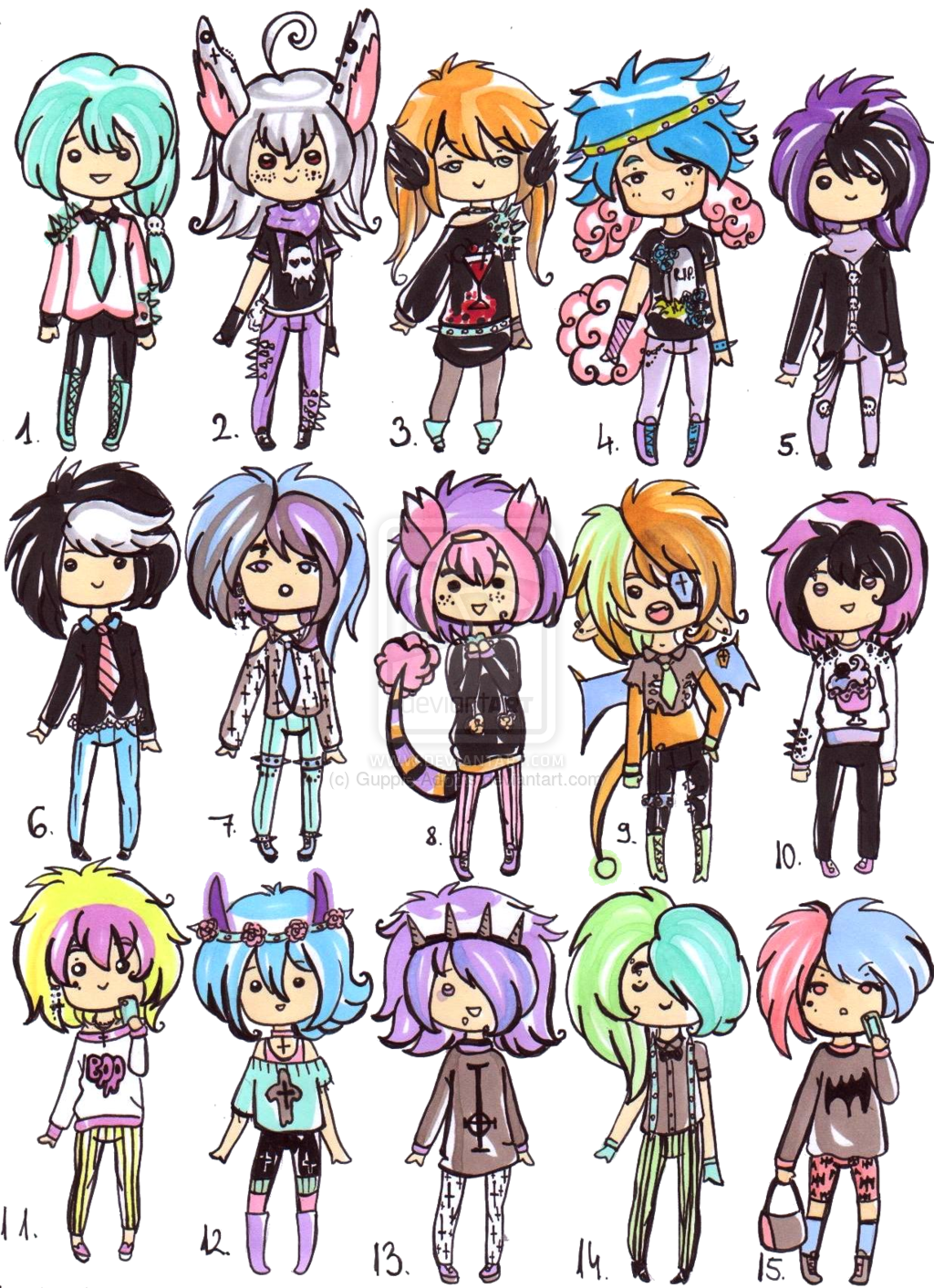 vector black and white stock Drawing outfits emo. Pastel goth boys closed