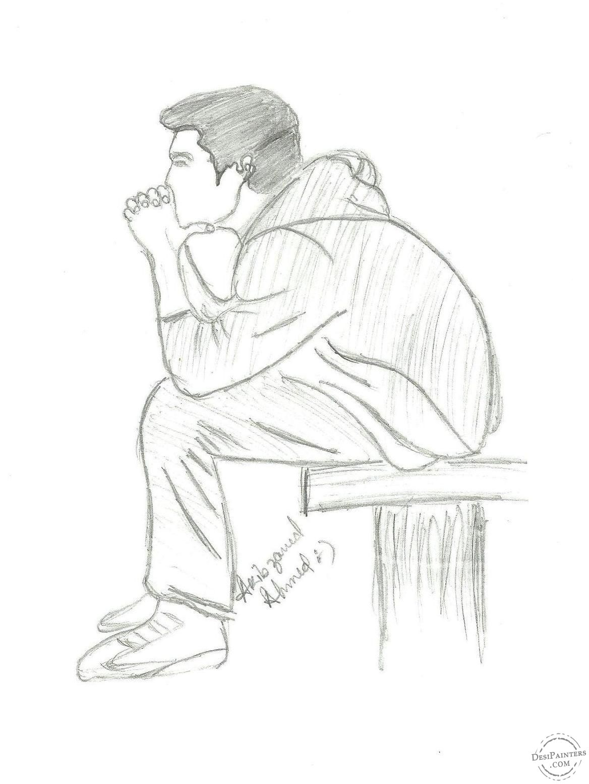 clip art black and white Pin on pencil . Drawing sad lonely