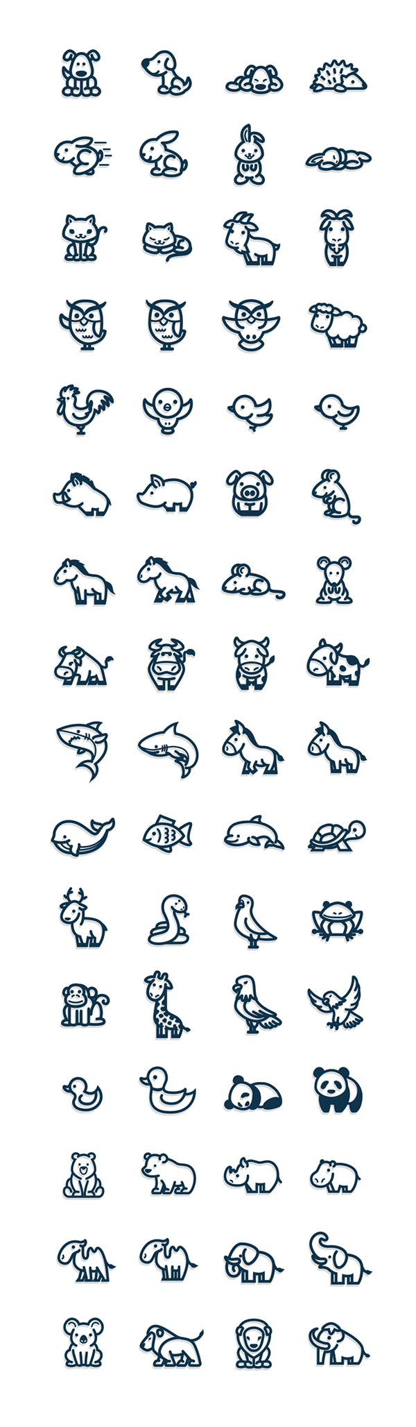 svg transparent stock Cute and simple vectorial animal icons