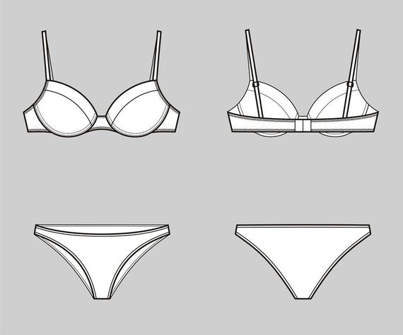 png free library And fashion flat sketch. Underwear vector bra
