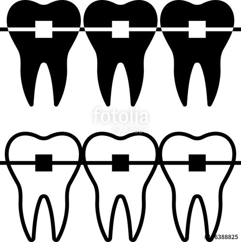clip art library download Braces clipart black and white. Tooth icon stock image.