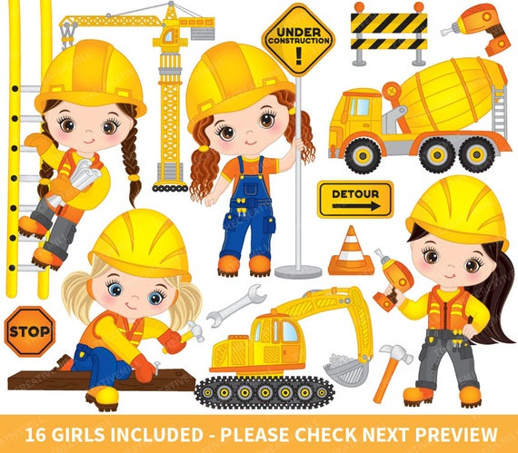 jpg library download Braces clipart construction. Girls vector girl kids.