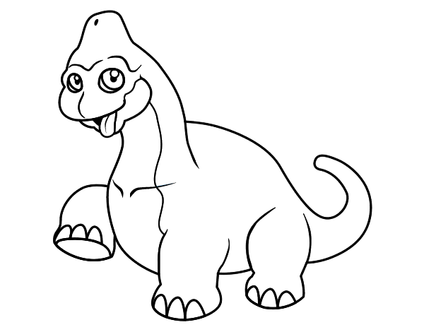 clip stock Baby brachiosaurus coloring page
