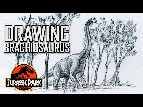 clip library library Drawing Jurassic Park Brachiosaurus Scene