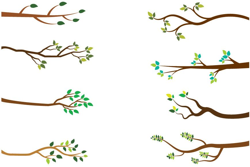 black and white stock Tree branches green leaves. Branch clipart.