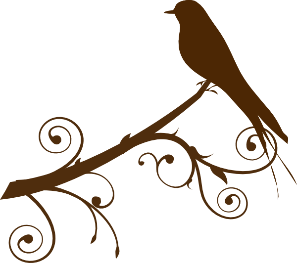clip Branch clipart long. Silhouette of birds on.