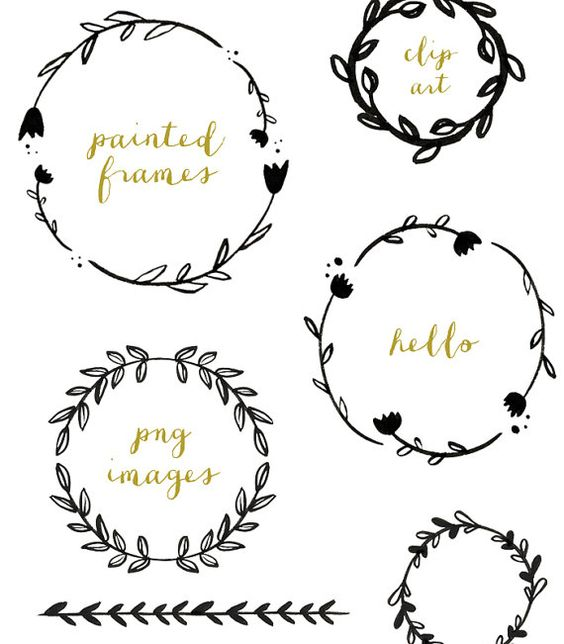 banner free download Branch wreath clipart. Handpainted branches clip art