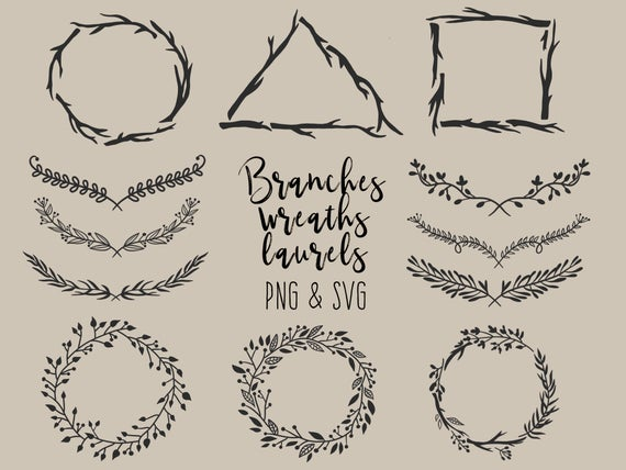 graphic download Wreaths and laurels hand. Branch wreath clipart