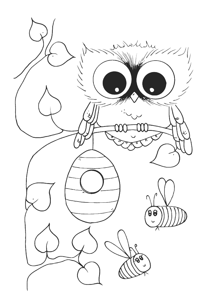 jpg black and white library Drawing owls coloring. Peaceful ideas cute owl