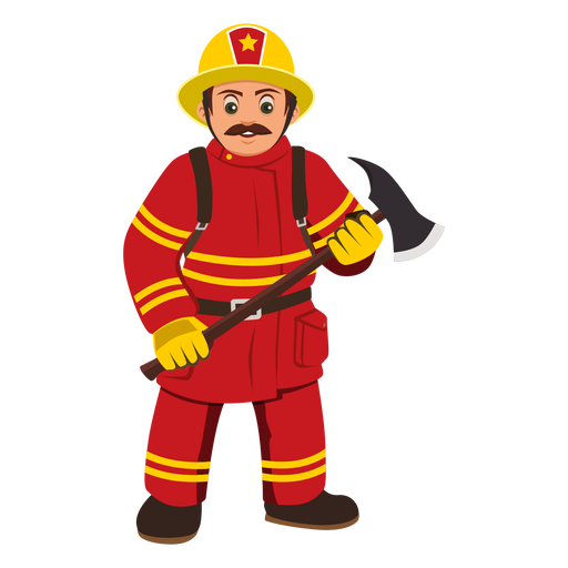 graphic transparent library Brave clipart fireman. Profession cartoon png free