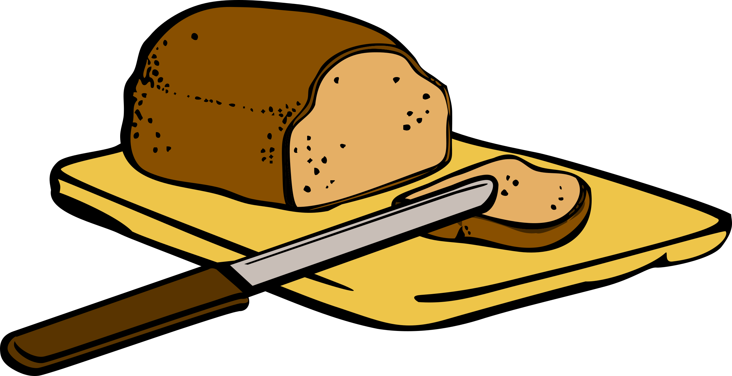 jpg library download Bread clipart breakfast bread. With knife on cutting.