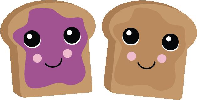 image free Pb j sweets clip. Bread clipart kawaii.