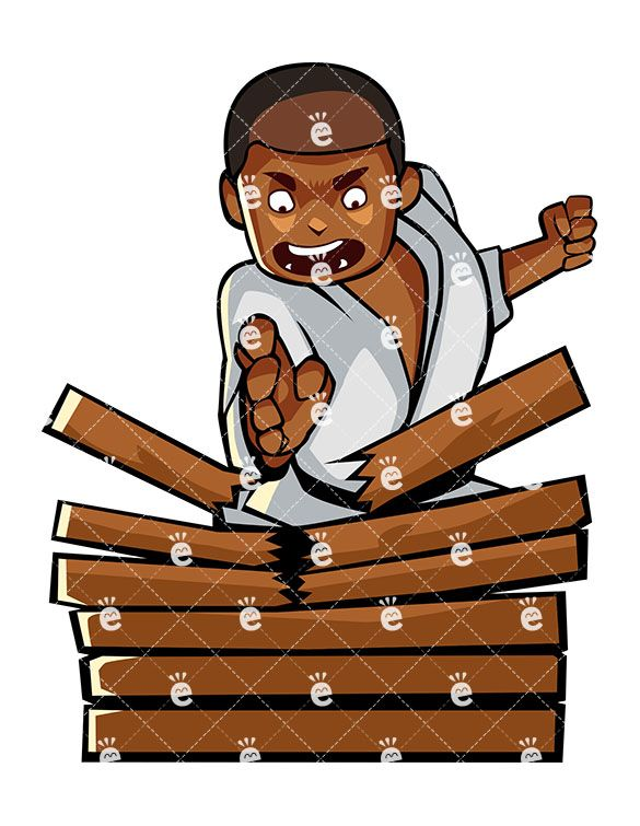 clip art download A black male karate. Break clipart wood.