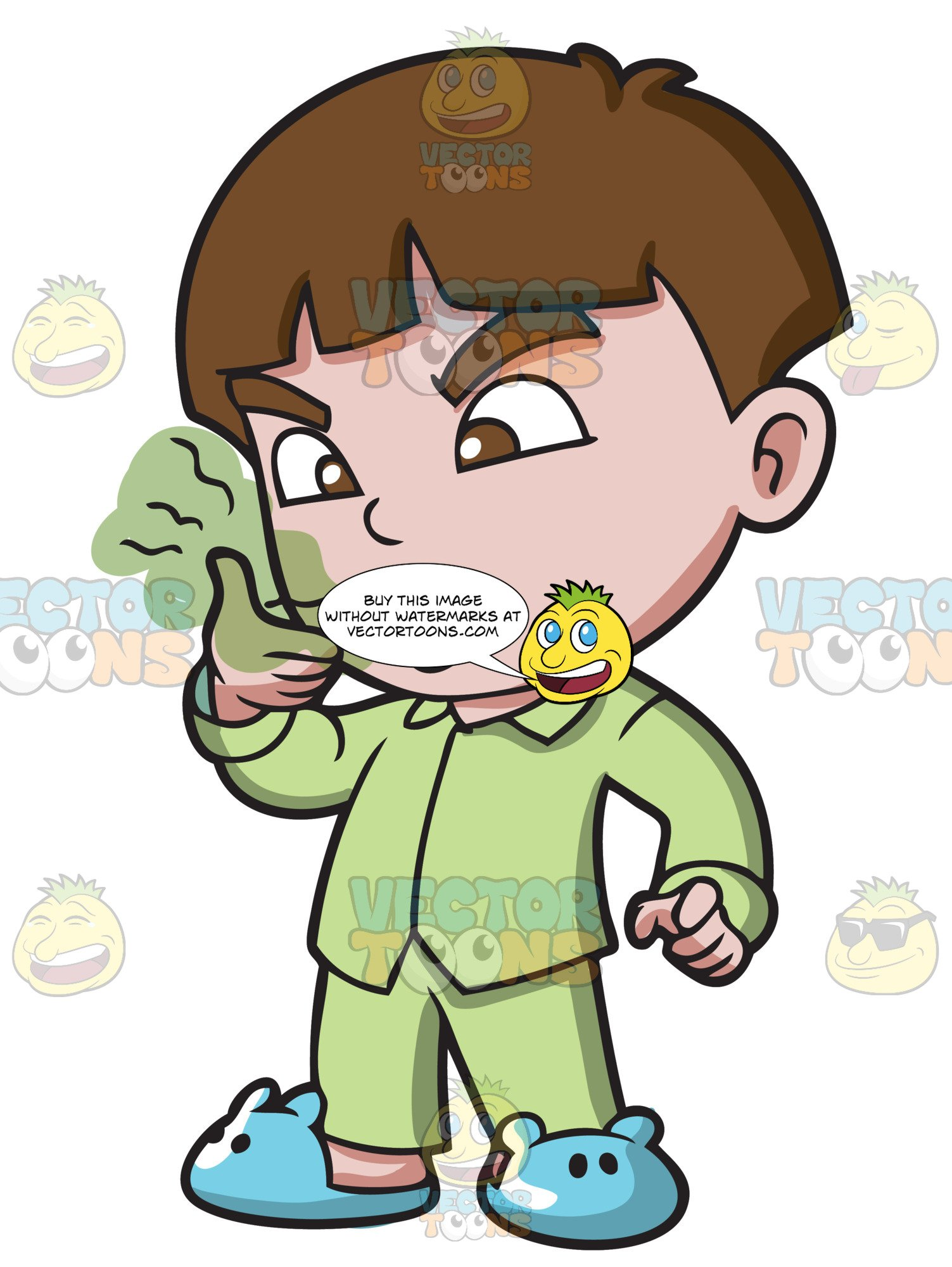 vector free stock A boy smelling his. Breath clipart bad smell object