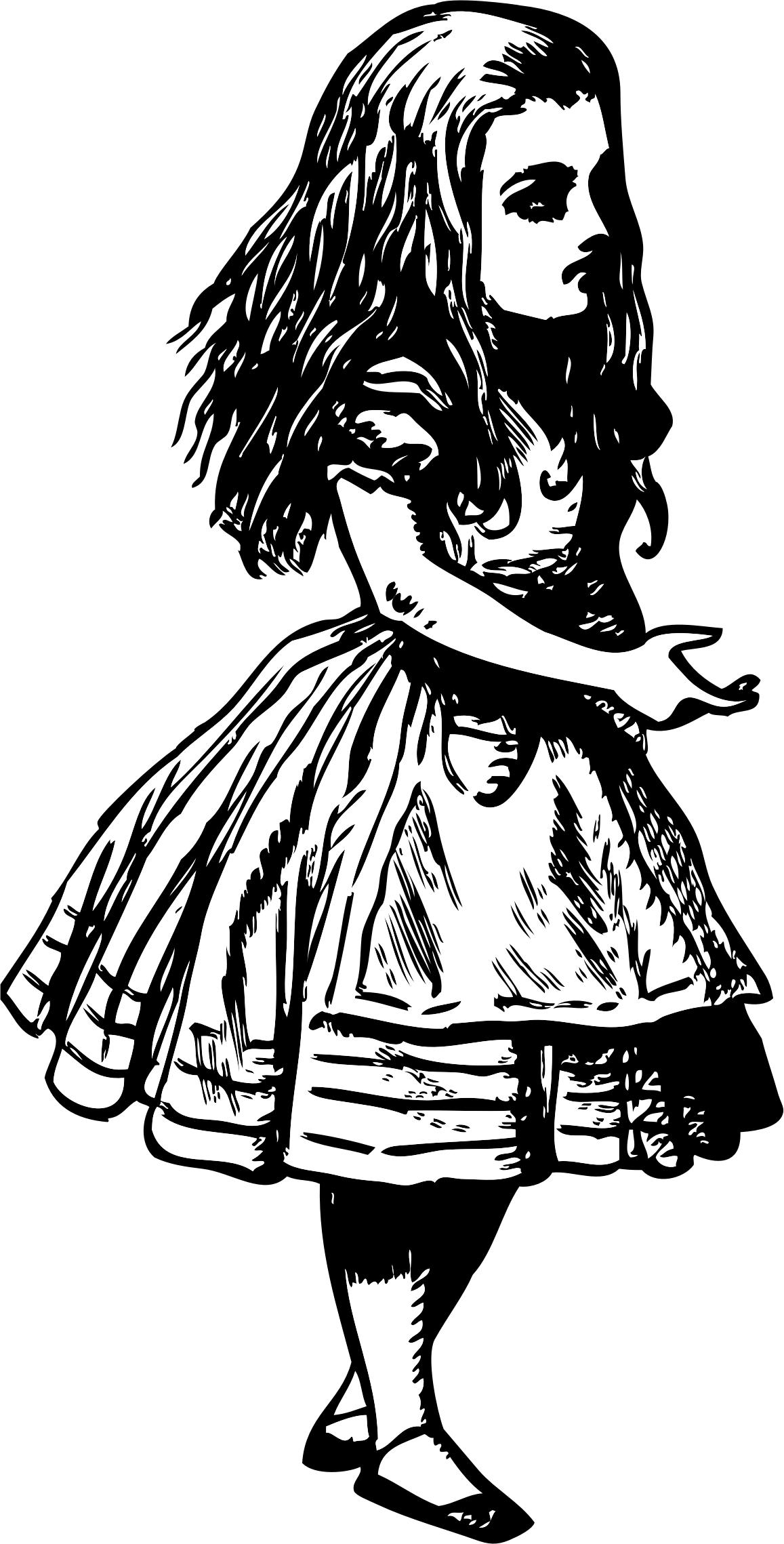 svg black and white download Writer clipart female author. Alice in wonderland big