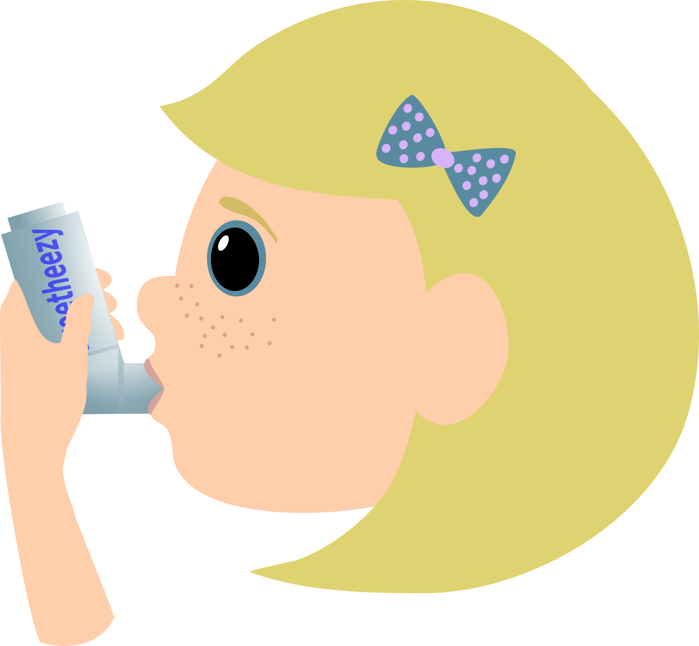 graphic transparent Breathing clipart heathy. Girl with asthma spray