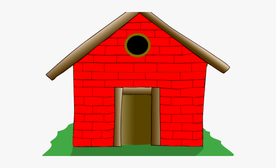 freeuse library Old house brick . Three little clipart straw