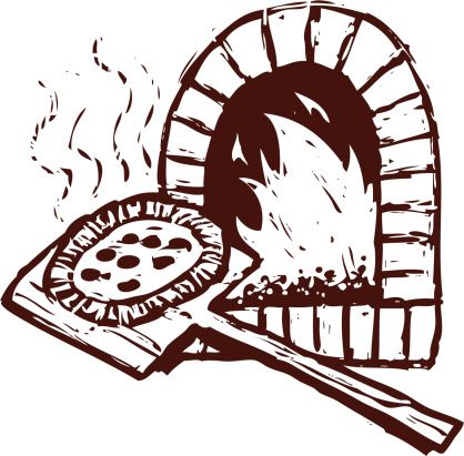clipart black and white stock Pizza clip art vector. Brick oven clipart