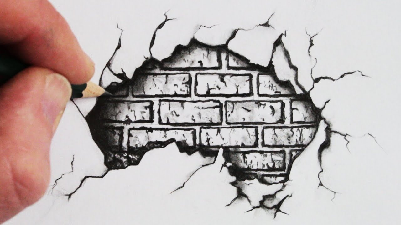 transparent library Crack drawing artistic. How to draw a