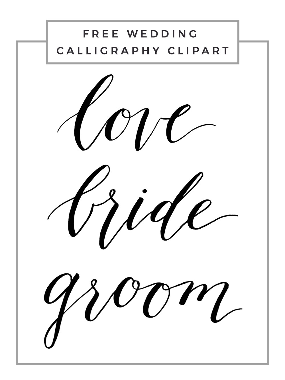 vector black and white library Transparent . Bridal clipart calligraphy